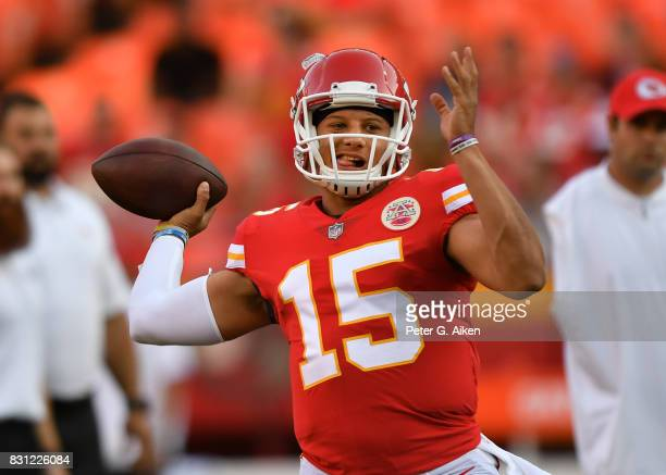 Quarterback Patrick Mahomes of the Kansas City Chiefs warms up prior to a preseason game against the San Francisco 49ers on August 11 2017 at...