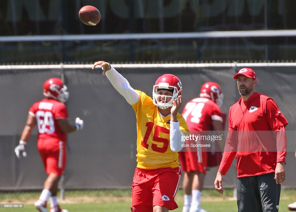 Quarterback Patrick Mahomes (15) throws a pass during the Chiefs Rookie Camp on May 7, 2017 at One Arrowhead Drive in Kansas City, MO.