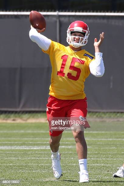 Quarterback Patrick Mahomes throws a pass during the Chiefs Rookie Camp on May 7 2017 at One Arrowhead Drive in Kansas City MO
