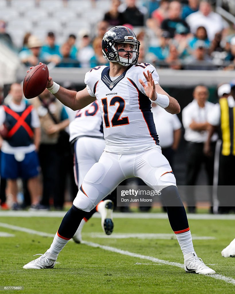 Quarterback Paxton Lynch #12 of the Denver Broncos during the game against the Jacksonville Jaguars at EverBank Field on December 4, 2016 in Jacksonville, Florida. The Broncos defeated the Jaguars 20 to 10.