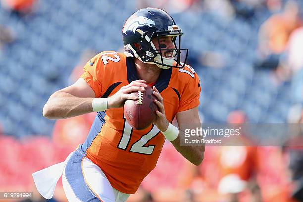 Quarterback Paxton Lynch of the Denver Broncos warms up before the game against the San Diego Chargers at Sports Authority Field at Mile High on...