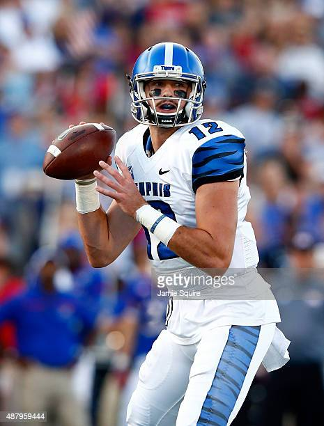Quarterback Paxton Lynch of the Memphis Tigers passes during the game against the Kansas Jayhawks at Memorial Stadium on September 12 2015 in...