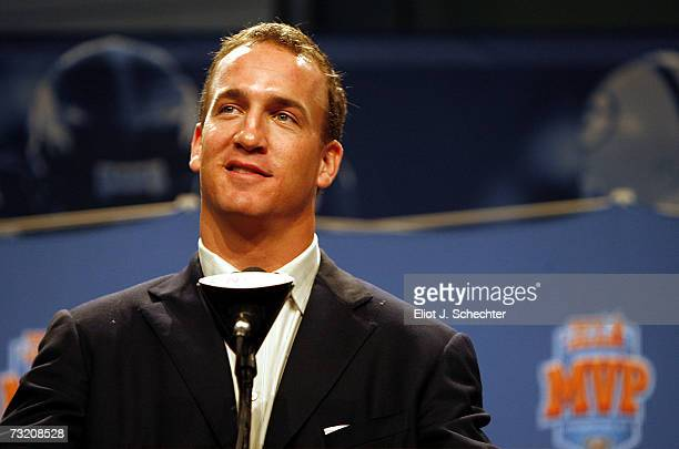 Quarterback Payton Manning of the Indianapolis Colts speaks to the media after receiving the Superbowl LXI MVP award and a new 2007 Cadillac at the...
