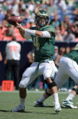 Quarterback Pete Thomas of the Colorado State Rams delivers a pass against the Colorado Buffaloes during the the Rocky Mountain Showdown at INVESCO...