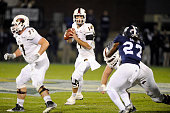 Quarterback Pete Thomas of the Louisiana Monroe Warhawks throws a pass against the Georgia Southern Eagles during the first quarter on November 29...