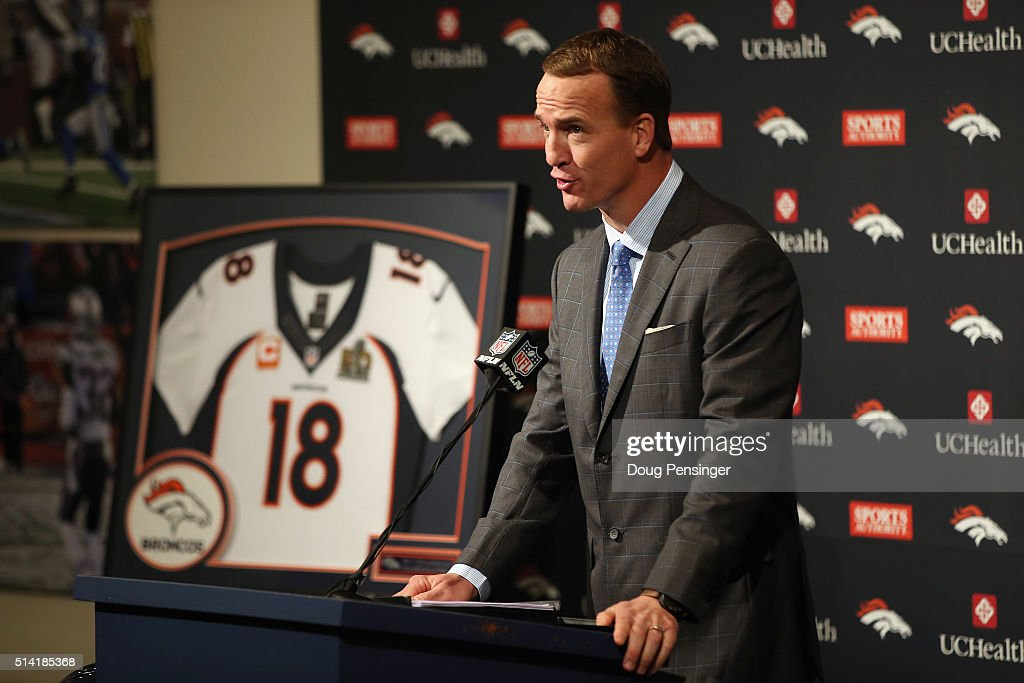 Quarterback Peyton Manning addresses the media as he announces his retirement from the NFL at the UCHealth Training Center on March 7, 2016 in Englewood, Colorado. Manning, who played for both the Indianapolis Colts and Denver Broncos in a career which spanned 18 years, is the NFL's all-time leader in passing touchdowns (539), passing yards (71,940) and tied for regular season QB wins (186). Manning played his final game last month as the winning quarterback in Super Bowl 50 in which the Broncos defeated the Carolina Panthers, earning Manning his second Super Bowl title.