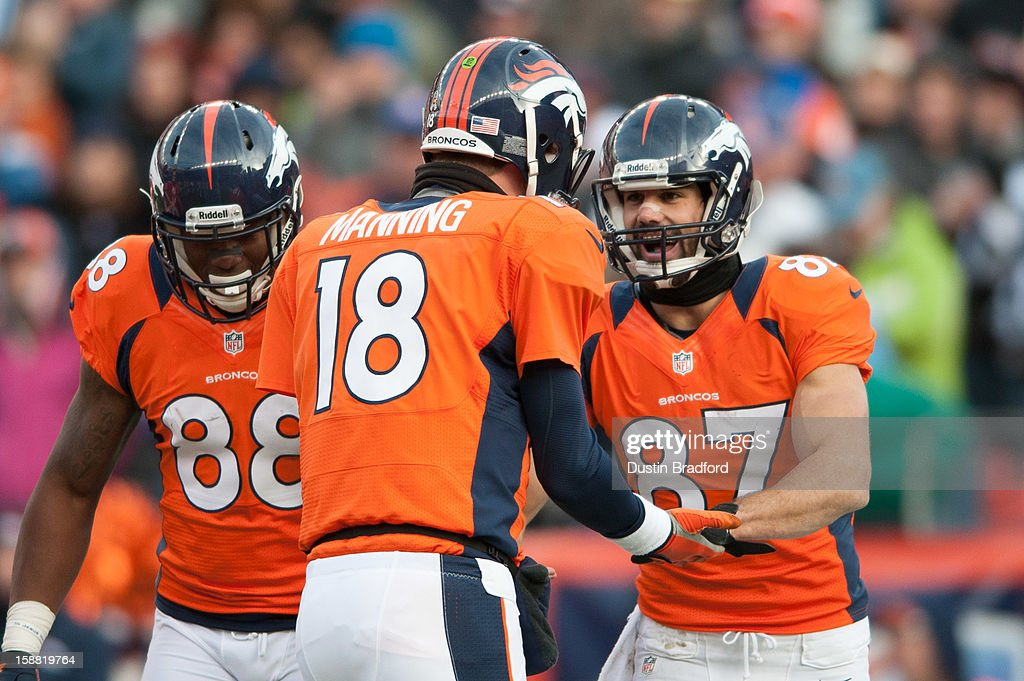 Quarterback Peyton Manning #18 congratulates wide receiver Eric Decker #87 of the Denver Broncos after the two connected for a touchdown during a game against the Kansas City Chiefs at Sports Authority Field Field at Mile High on December 30, 2012 in Denver, Colorado.
