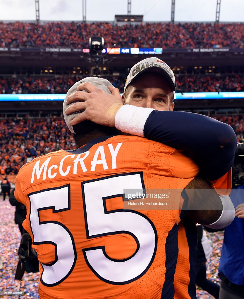 Quarterback <a gi-track='captionPersonalityLinkClicked' href=/galleries/search?phrase=Peyton+Manning&family=editorial&specificpeople=184524 ng-click='$event.stopPropagation()'>Peyton Manning</a> (18) of the Denver Broncos celebrates with outside linebacker <a gi-track='captionPersonalityLinkClicked' href=/galleries/search?phrase=Lerentee+McCray&family=editorial&specificpeople=7418300 ng-click='$event.stopPropagation()'>Lerentee McCray</a> (55) of the Denver Broncos after the Broncos defeated the Patriots 20 to 18 in the AFC championship game. The Denver Broncos played the New England Patriots in the AFC championship game at Sports Authority Field at Mile High in Denver, CO on January 24, 2016.