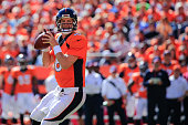 Quarterback Peyton Manning of the Denver Broncos drops back to pass what would be his 500th career touchdown pass to Julius Thomas in the first...