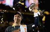 Quarterback Peyton Manning of the Denver Broncos holds the Vince Lombardi Trophy after winning Super Bowl 50 against the Carolina Panthers at Levi's...