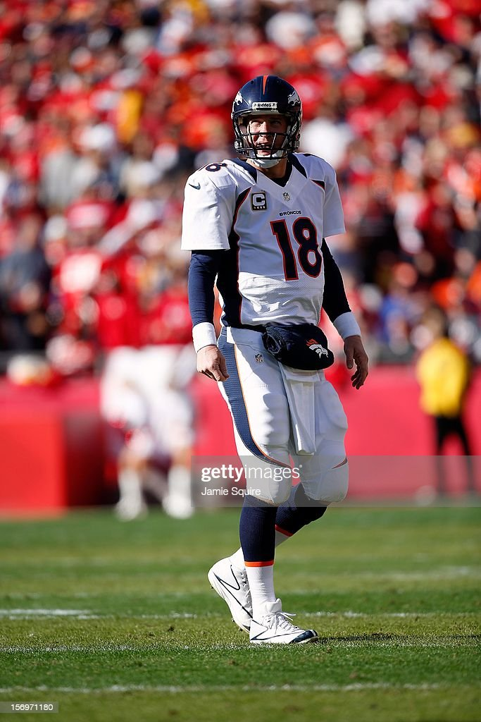 Quarterback Peyton Manning #18 of the Denver Broncos in action during the game against the Kansas City Chiefs at Arrowhead Stadium on November 25, 2012 in Kansas City, Missouri.