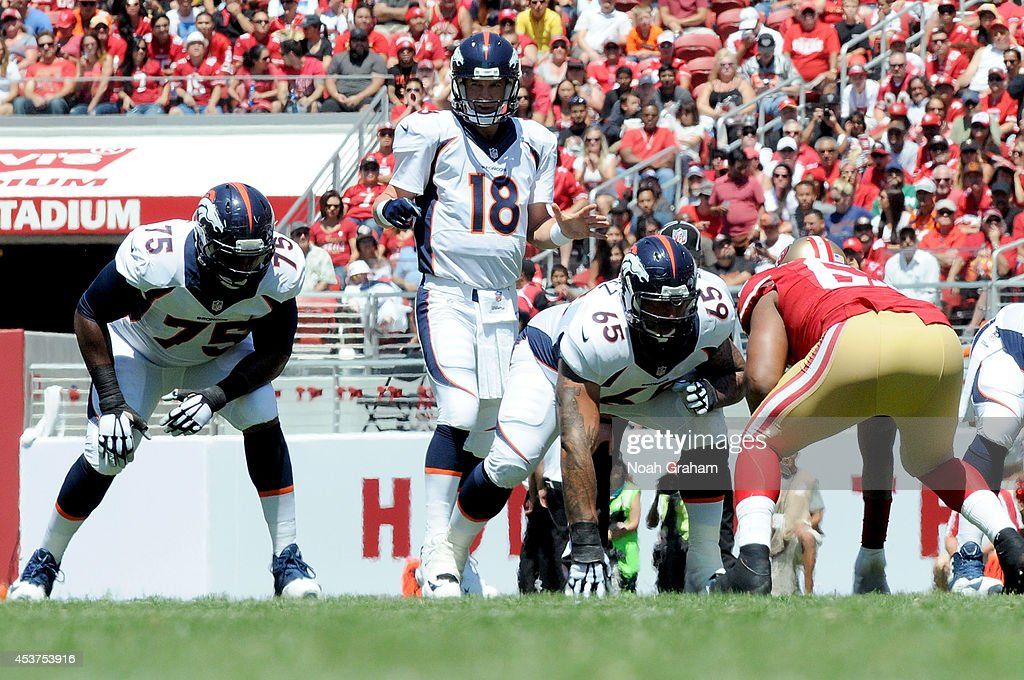 Quarterback <a gi-track='captionPersonalityLinkClicked' href=/galleries/search?phrase=Peyton+Manning&family=editorial&specificpeople=184524 ng-click='$event.stopPropagation()'>Peyton Manning</a> #18 of the Denver Broncos looks down field during a preseason game against the San Francisco 49ers at Levi's Stadium on August 17, 2014 in Santa Clara, California.