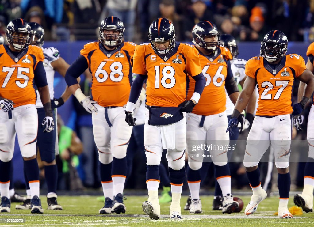 Quarterback <a gi-track='captionPersonalityLinkClicked' href=/galleries/search?phrase=Peyton+Manning&family=editorial&specificpeople=184524 ng-click='$event.stopPropagation()'>Peyton Manning</a> #18 of the Denver Broncos reacts alongside teammates tackle Chris Clark #75, guard <a gi-track='captionPersonalityLinkClicked' href=/galleries/search?phrase=Zane+Beadles&family=editorial&specificpeople=5637531 ng-click='$event.stopPropagation()'>Zane Beadles</a> #68, center Manny Ramirez #66 and running back <a gi-track='captionPersonalityLinkClicked' href=/galleries/search?phrase=Knowshon+Moreno&family=editorial&specificpeople=3986554 ng-click='$event.stopPropagation()'>Knowshon Moreno</a> #27 in the second quarter against the Seattle Seahawks during Super Bowl XLVIII at MetLife Stadium on February 2, 2014 in East Rutherford, New Jersey.