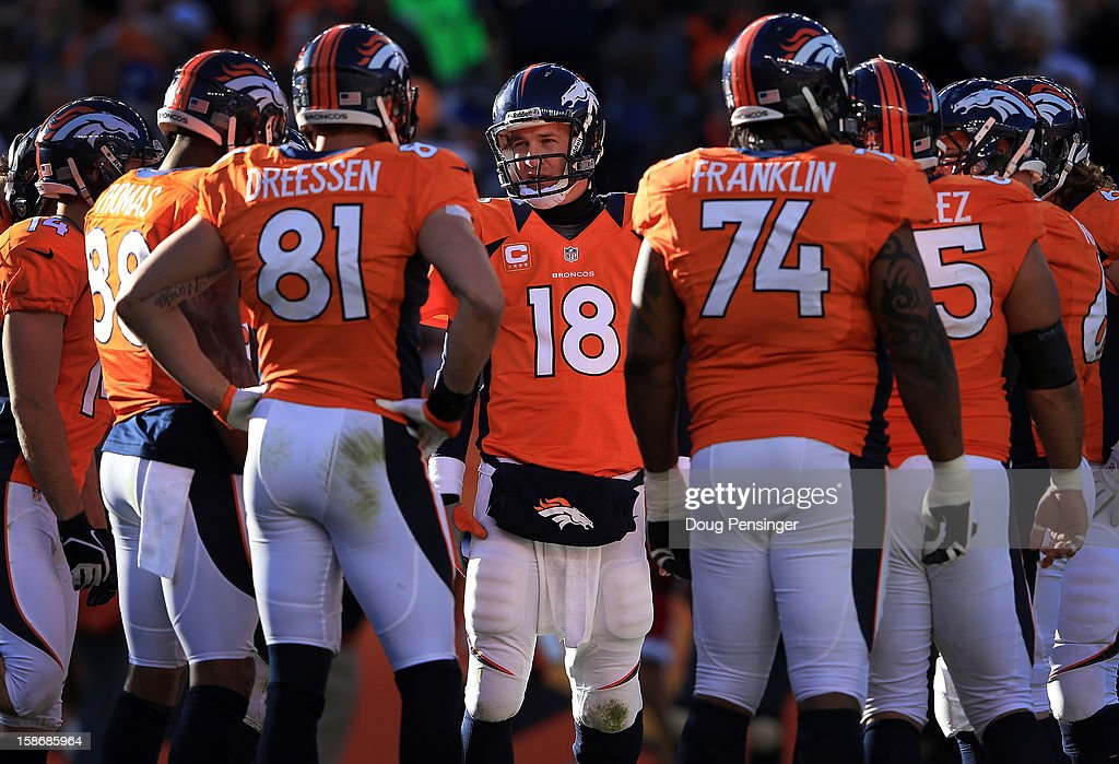 Quarterback <a gi-track='captionPersonalityLinkClicked' href=/galleries/search?phrase=Peyton+Manning&family=editorial&specificpeople=184524 ng-click='$event.stopPropagation()'>Peyton Manning</a> #18 of the Denver Broncos runs the huddle as he leads the offense against the Cleveland Browns at Sports Authority Field at Mile High on December 23, 2012 in Denver, Colorado.
