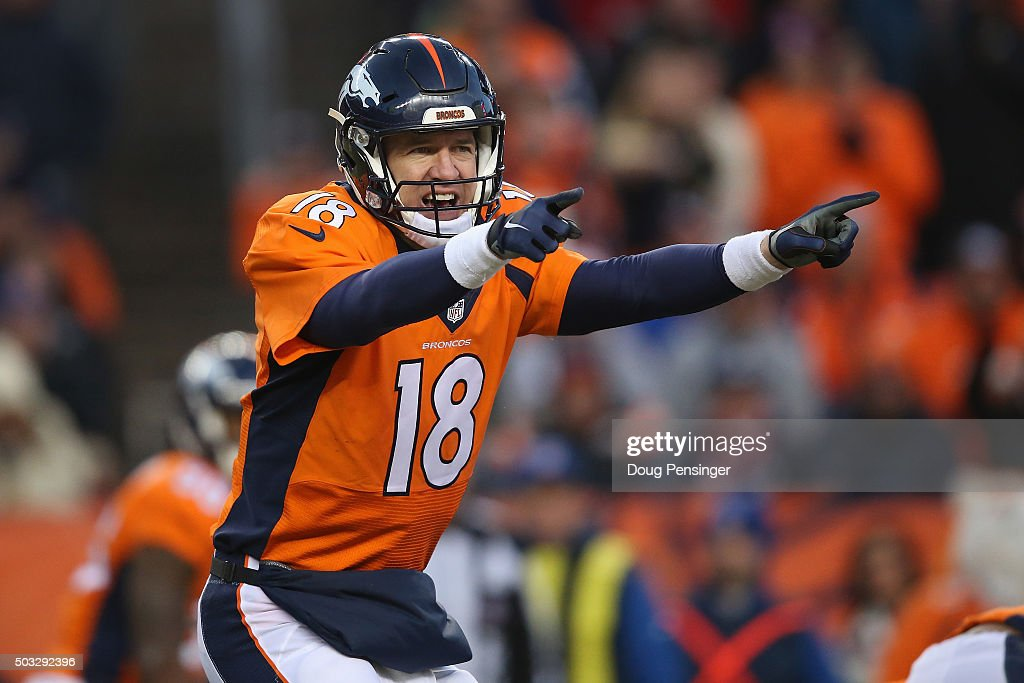 Quarterback <a gi-track='captionPersonalityLinkClicked' href=/galleries/search?phrase=Peyton+Manning&family=editorial&specificpeople=184524 ng-click='$event.stopPropagation()'>Peyton Manning</a> #18 of the Denver Broncos runs the offense against the San Diego Chargers at Sports Authority Field at Mile High on January 3, 2016 in Denver, Colorado.