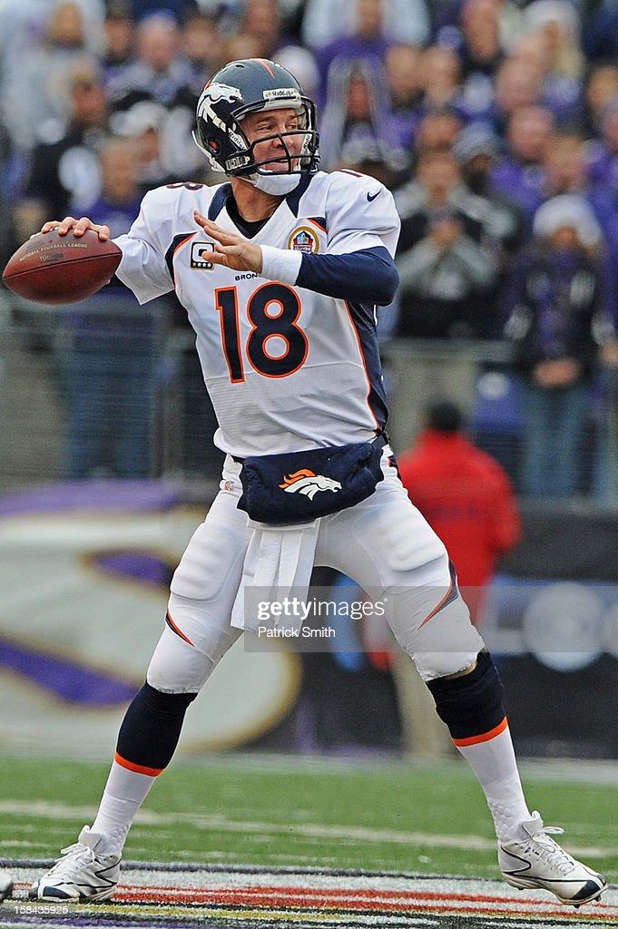 Quarterback <a gi-track='captionPersonalityLinkClicked' href=/galleries/search?phrase=Peyton+Manning&family=editorial&specificpeople=184524 ng-click='$event.stopPropagation()'>Peyton Manning</a> #18 of the Denver Broncos throws a pass against the Baltimore Ravens in the third quarter at M&T Bank Stadium on December 16, 2012 in Baltimore, Maryland. The Denver Broncos won, 34-17.