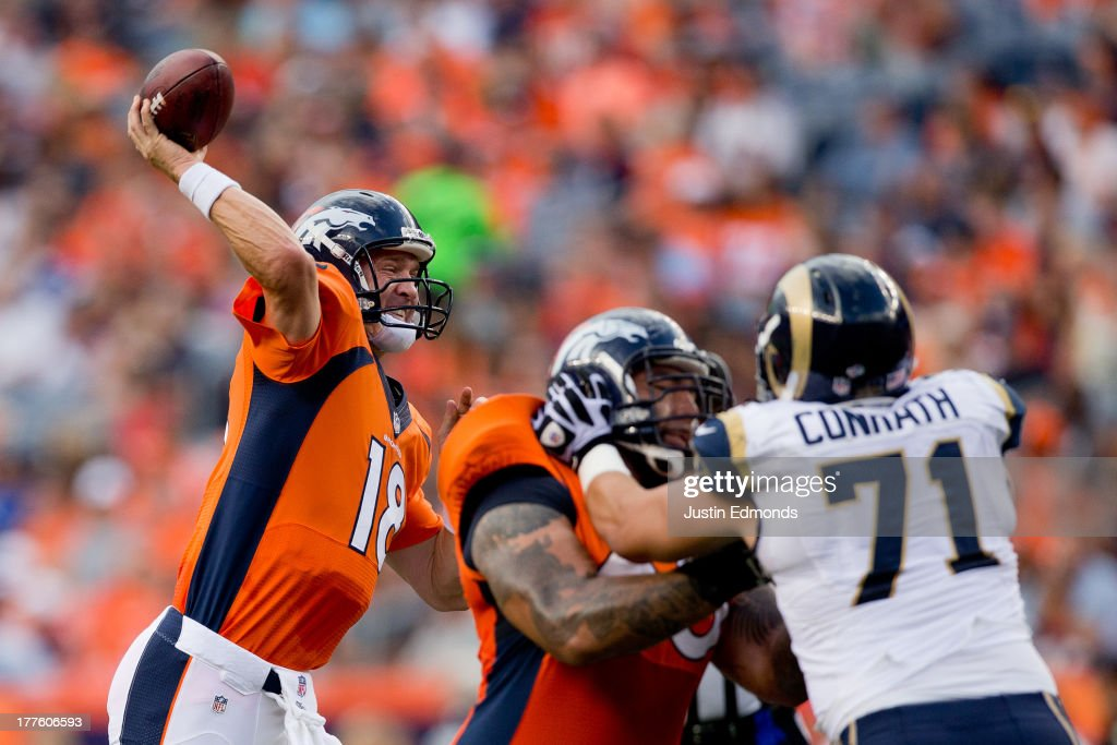 Quarterback <a gi-track='captionPersonalityLinkClicked' href=/galleries/search?phrase=Peyton+Manning&family=editorial&specificpeople=184524 ng-click='$event.stopPropagation()'>Peyton Manning</a> #18 of the Denver Broncos throws a pass against the St. Louis Rams during the first quarter at Sports Authority Field Field at Mile High on August 24, 2013 in Denver, Colorado.