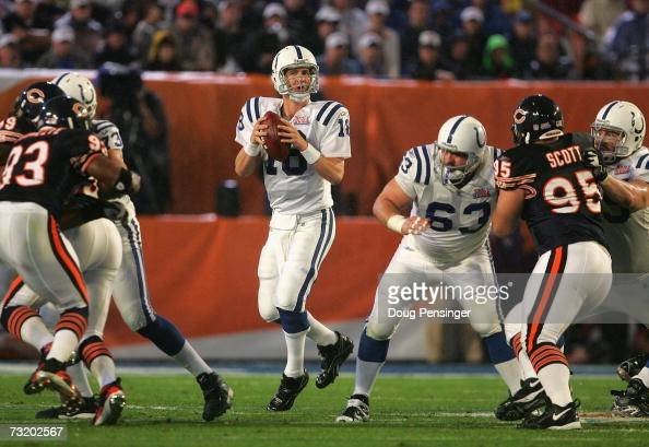 Quarterback Peyton Manning of the Indianapolis Colts drops back to pass against the Chicago Bears during the first quarter of Super Bowl XLI on...