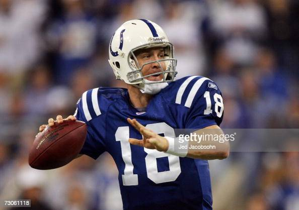 Quarterback Peyton Manning of the Indianapolis Colts passes from the pocket against the New England Patriots during the AFC Championship Game on...
