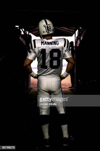 Quarterback Peyton Manning of the Indianapolis Colts prepares to enter the game against the San Diego Chargers during their NFL Game at Qualcomm...
