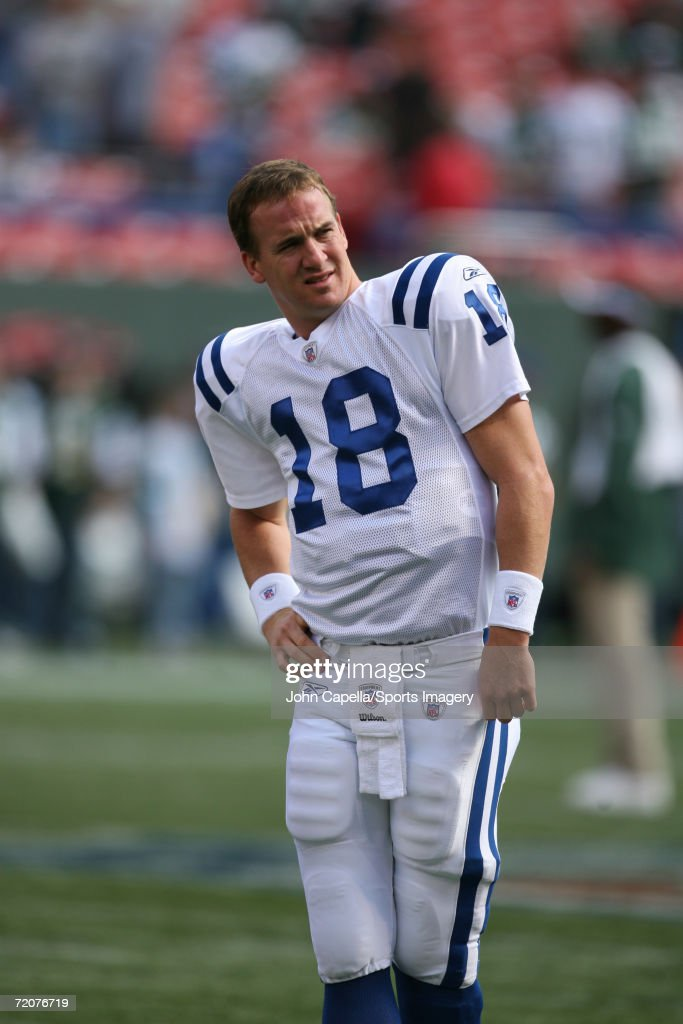 Quarterback Peyton Manning #18 of the Indianapolis Colts prior to a game against the New York Jets at Giants Stadium on October 1, 2006 in East Rutherford, New Jersey. The Colts defeated the Jets 31-28.
