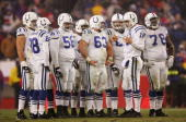 Quarterback Peyton Manning of the Indianapolis Colts talks to teammates during the AFC divisional playoff game against the New England Patriots at...