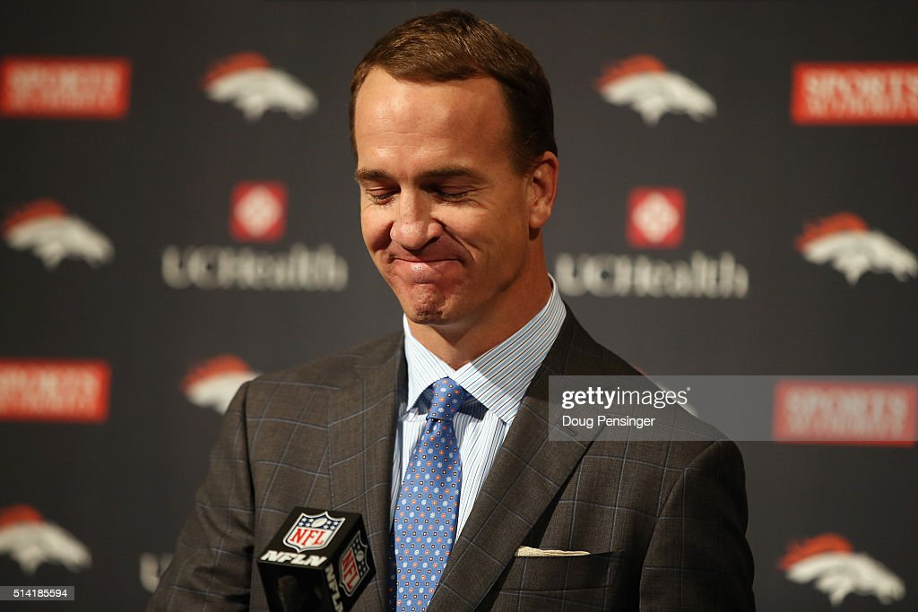 Quarterback <a gi-track='captionPersonalityLinkClicked' href=/galleries/search?phrase=Peyton+Manning&family=editorial&specificpeople=184524 ng-click='$event.stopPropagation()'>Peyton Manning</a> reacts as he announces his retirement from the NFL at the UCHealth Training Center on March 7, 2016 in Englewood, Colorado. Manning, who played for both the Indianapolis Colts and Denver Broncos in a career which spanned 18 years, is the NFL's all-time leader in passing touchdowns (539), passing yards (71,940) and tied for regular season QB wins (186). Manning played his final game last month as the winning quarterback in Super Bowl 50 in which the Broncos defeated the Carolina Panthers, earning Manning his second Super Bowl title.