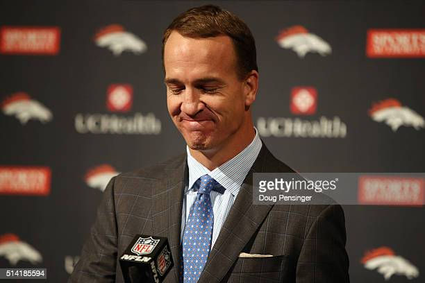 Quarterback Peyton Manning reacts as he announces his retirement from the NFL at the UCHealth Training Center on March 7 2016 in Englewood Colorado...
