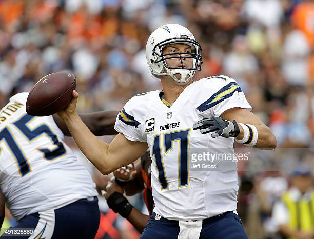 Quarterback Philip Rivers of the San Diego Chargers drops back to pass against the Cleveland Browns in the second quarter at Qualcomm Stadium on...