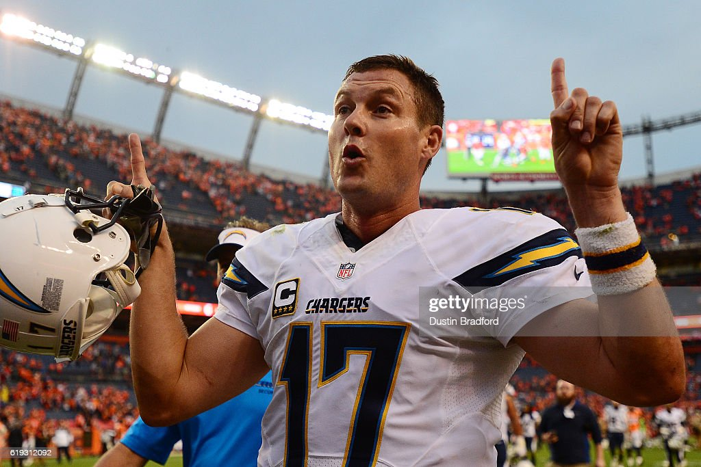 Quarterback Philip Rivers #17 of the San Diego Chargers gestures with his hands to say the Chargers are 1-1 after losing to the Denver Broncos 27-19 at Sports Authority Field at Mile High on October 30, 2016 in Denver, Colorado.