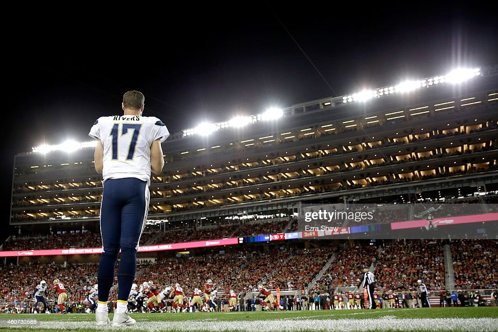 Quarterback <a gi-track='captionPersonalityLinkClicked' href=/galleries/search?phrase=Philip+Rivers&family=editorial&specificpeople=212885 ng-click='$event.stopPropagation()'>Philip Rivers</a> #17 of the San Diego Chargers looks on from the sideline in the first half while taking on the San Francisco 49ers at Levi's Stadium on December 20, 2014 in Santa Clara, California.