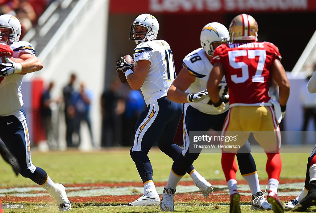 Quarterback <a gi-track='captionPersonalityLinkClicked' href=/galleries/search?phrase=Philip+Rivers&family=editorial&specificpeople=212885 ng-click='$event.stopPropagation()'>Philip Rivers</a> #17 of the San Diego Chargers looks to pass during the first quarter of their preseason game against the San Francisco 49ers at Levi's Stadium on August 24, 2014 in Santa Clara, California.