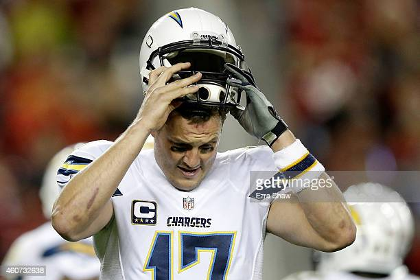 Quarterback Philip Rivers of the San Diego Chargers reacts in the first half while taking on the San Francisco 49ers at Levi's Stadium on December 20...