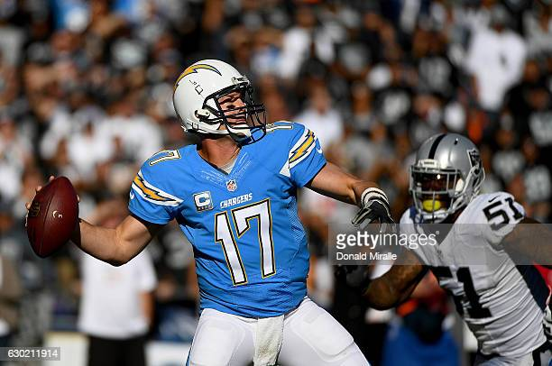 Quarterback Philip Rivers of the San Diego Chargers throws the ball against the Oakland Raiders during the first half of a game at Qualcomm Stadium...