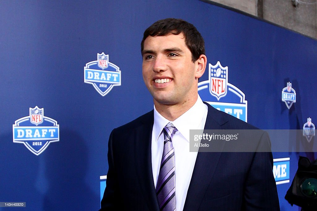 Quarterback prospect Andrew Luck from Stanford arrives on the red carpet during the 2012 NFL Draft at Radio City Music Hall on April 26, 2012 in New York City.