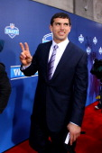 Quarterback prospect Andrew Luck from Stanford arrives on the red carpet during the 2012 NFL Draft at Radio City Music Hall on April 26 2012 in New...