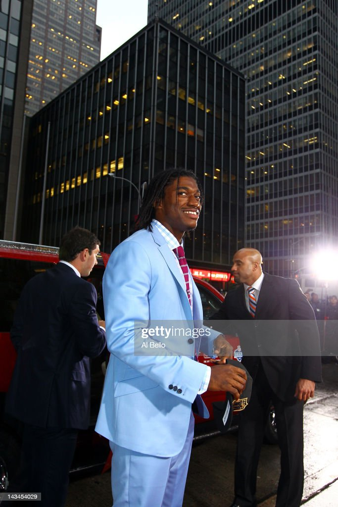 Quarterback prospect Robert Griffin III from Baylor arrives on the red carpet during the 2012 NFL Draft at Radio City Music Hall on April 26, 2012 in New York City. Griffin III was drafted #2 overall by the Washington Redskins.