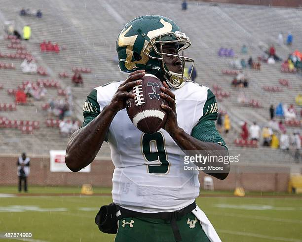 Quarterback Quinton Flowers of the South Florida Bulls before the game against the Florida State Seminoles at Doak Campbell Stadium on Bobby Bowden...