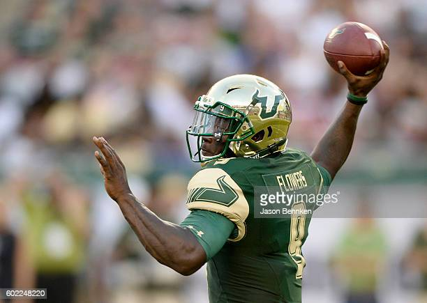 Quarterback Quinton Flowers of the South Florida Bulls looks to pass against the Northern Illinois Huskies during the 1st quarter at Raymond James...