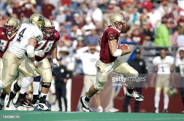 Quarterback Quinton Porter of Boston College scrambles for a short gain during BC's 2413 loss to Pittsburgh at Alumni Stadium in Newton Massachusetts