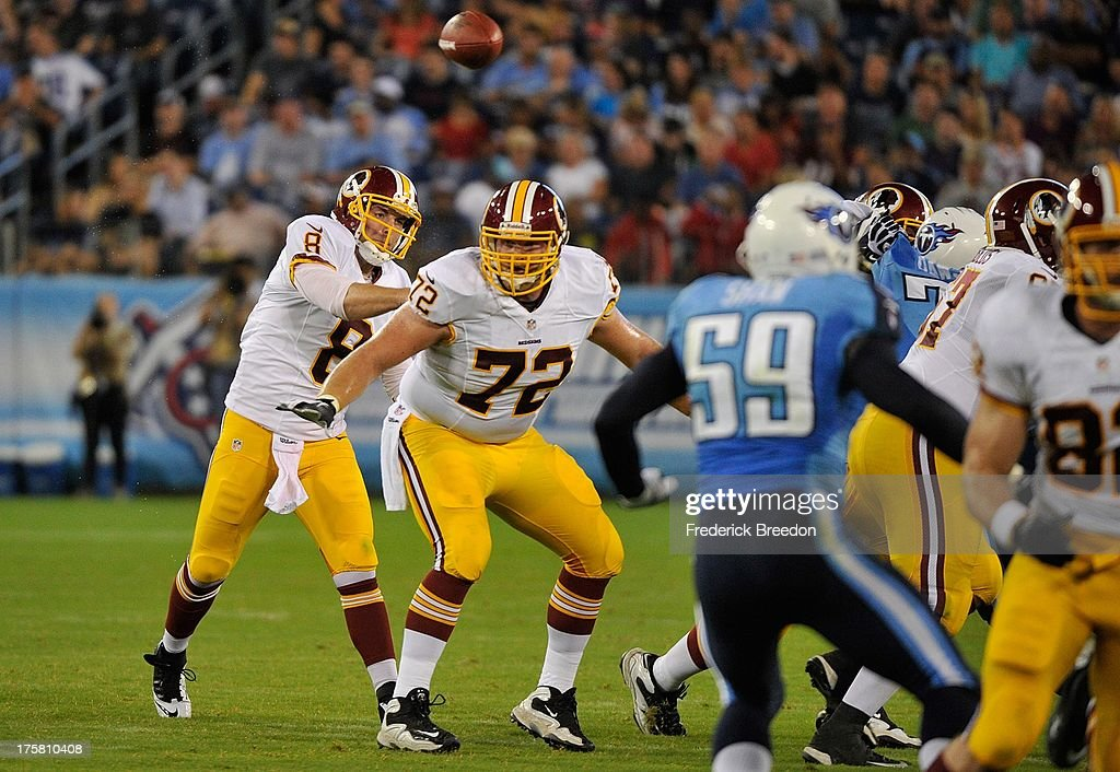 Quarterback <a gi-track='captionPersonalityLinkClicked' href=/galleries/search?phrase=Rex+Grossman&family=editorial&specificpeople=204574 ng-click='$event.stopPropagation()'>Rex Grossman</a> #8 of the Washington Redskins throws a pass against the Tennessee Titans during a pre-season game at LP Field on August 8, 2013 in Nashville, Tennessee.