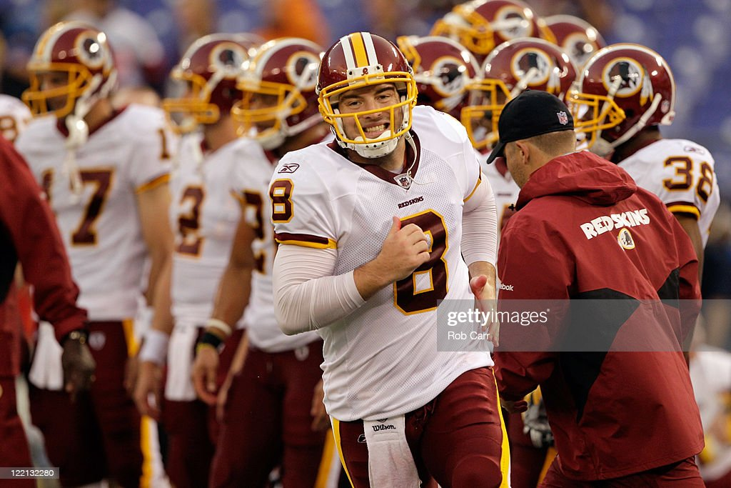 Quarterback <a gi-track='captionPersonalityLinkClicked' href=/galleries/search?phrase=Rex+Grossman&family=editorial&specificpeople=204574 ng-click='$event.stopPropagation()'>Rex Grossman</a> #8 of the Washington Redskins warms up prior to the start of a preseason game against the Baltimore Ravens at M&T Bank Stadium on August 25, 2011 in Baltimore, Maryland.