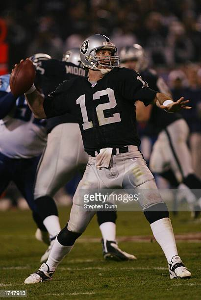 Quarterback Rich Gannon of the Oakland Raiders passes during the AFC Championship game against the Tennessee Titans at Network Associates Coliseum on...