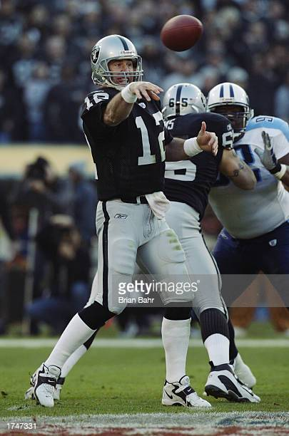 Quarterback Rich Gannon of the Oakland Raiders throws against the Tennessee Titans in the second quarter of the AFC Championship game at Network...