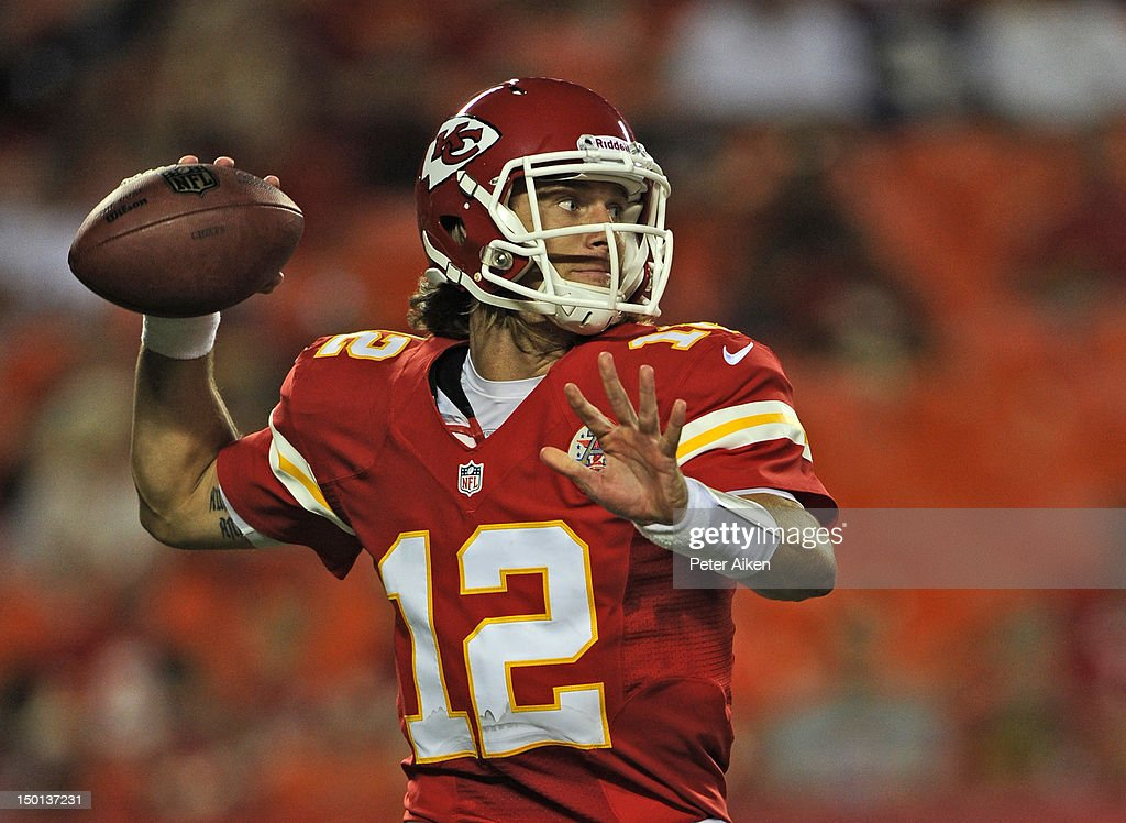 Quarterback <a gi-track='captionPersonalityLinkClicked' href=/galleries/search?phrase=Ricky+Stanzi&family=editorial&specificpeople=4483561 ng-click='$event.stopPropagation()'>Ricky Stanzi</a> #12 of the Kansas City Chiefs drops back to pass against the Arizona Cardinals during the second half on August 10, 2012 at Arrowhead Stadium in Kansas City, Missouri. Kansas City defeated Arizona 27-17.
