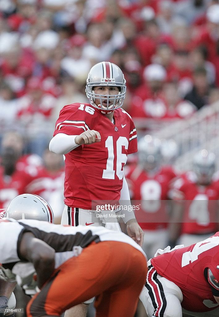 Quarterback Rob Schoenhoft of the Ohio State Buckeyes stands at the line of scrimmage during the game against the Bowling Green Falcons at Ohio...