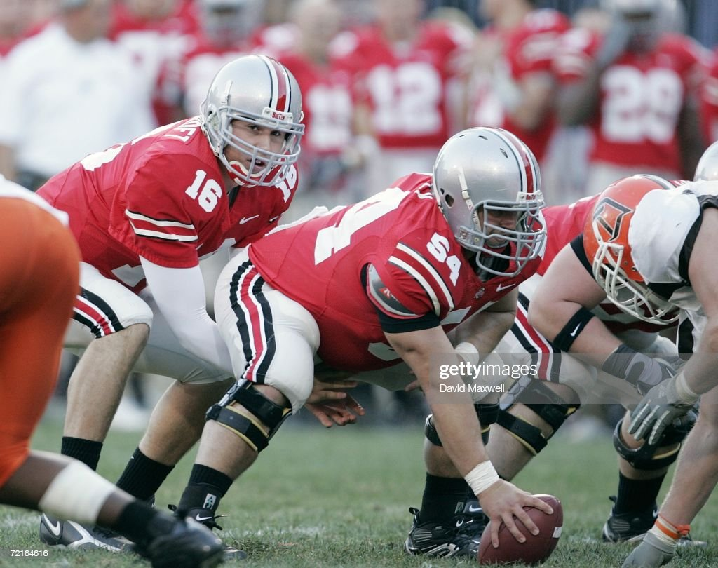 Quarterback Rob Schoenhoft of the Ohio State Buckeyes stands under center Tyler Whaley during the game against the Bowling Green Falcons at Ohio...