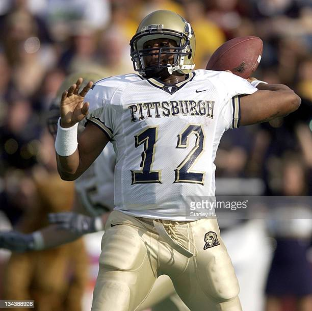 Quarterback Rod Rutherford of Pittsburgh winds back for a pass during Pittsburgh's 2413 victory over BC at Alumni Stadium in NewtonMassachusetts