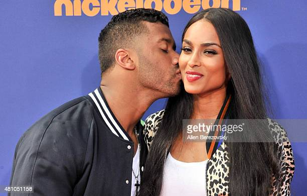 NFL quarterback Russell Wilson and recording artist Ciara attend the Nickelodeon Kids' Choice Sports Awards 2015 at UCLA's Pauley Pavilion on July 16...