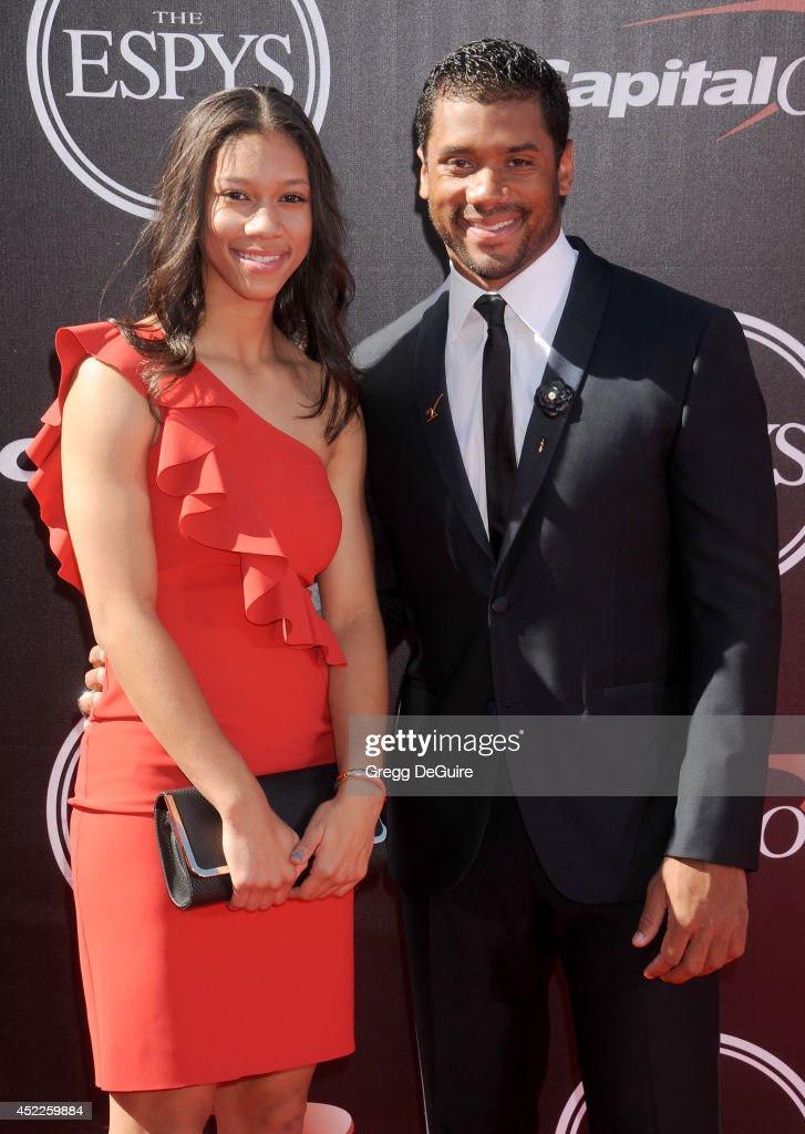 NFL quarterback <a gi-track='captionPersonalityLinkClicked' href=/galleries/search?phrase=Russell+Wilson+-+American+Football+Quarterback&family=editorial&specificpeople=2292912 ng-click='$event.stopPropagation()'>Russell Wilson</a> and sister Anna Wilson arrive at the 2014 ESPY Awards at Nokia Theatre L.A. Live on July 16, 2014 in Los Angeles, California.